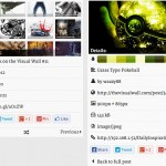 The info panels per post (left) or image (right)